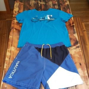 Nautica Outfit!  Swim Trunks & T-Shirt both Size L